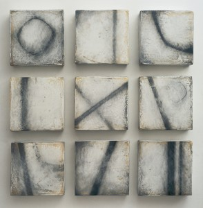 Nine Paths: Oil graphite and plaster on board, 100 x 100cm (9 separate 30 x 30cm blocks), 2007